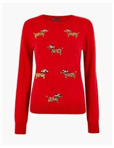 M&S Collection Dog Embellished Christmas Jumper