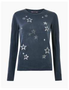 M&S Collection Sequin Star Design Christmas Jumper