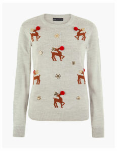 M&S Collection Reindeer Embellished Christmas Jumper