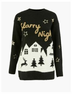 M&S Collection Novelty Starry Night Christmas Jumper
