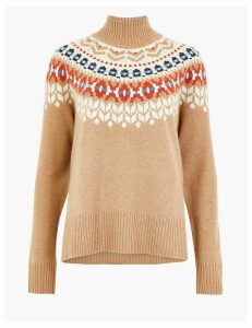 Autograph Pure Cashmere Fair Isle Roll Neck Jumper