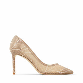 ROMY 85 Ballet-Pink Mesh Point-Toe Pumps with Sequin Embroidery
