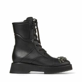 HADLEY FLAT Black Grained Leather Combat Boots