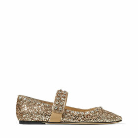 MINETTE FLAT Metallic Gold Glitter Fabric Ballet Flats with Crystal Embellishment