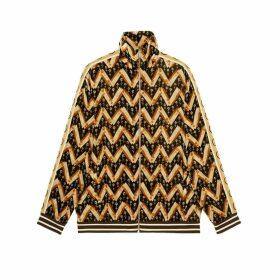 Chevron daisy velvet oversize jacket
