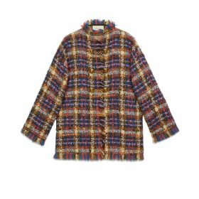Tweed jacket with lion head toggles