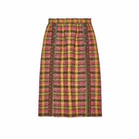 Check tweed skirt with silk trims