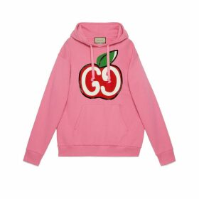 Hooded sweatshirt with GG apple print