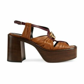 Leather mid-heel platform sandal