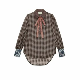 Patchwork print shirt with neck bow