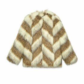 Faux fur jacket with chevron intarsia