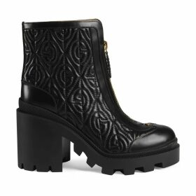 G rhombus leather mid-heel ankle boot