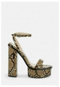 Brown Snake Print Chunky Platform Heeled Sandals, Brown