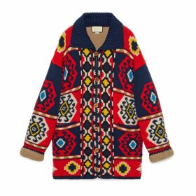 Wool alpaca jacquard cardigan