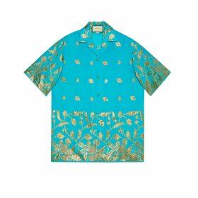 Lamé fil coupé oversize bowling shirt