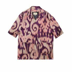 Retro swirl jacquard oversize bowling shirt