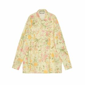 Flora print oversize bowling shirt