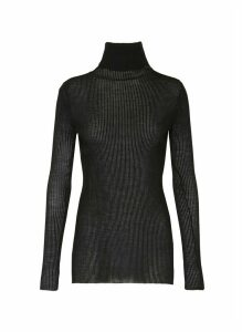 Sheer turtleneck knit top