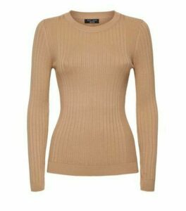 Petite Camel Ribbed Knit Jumper New Look