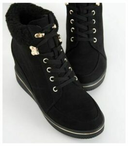 Black Suedette Lace Up Wedge Trainers New Look