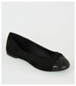 Black Suedette Knot Front Ballet Pumps New Look