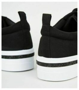 Black Suedette Diamanté Trim Flatform Trainers New Look