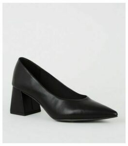 Black Leather-Look Flared Block Court Shoes New Look