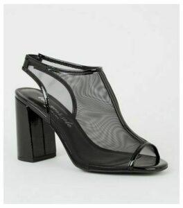 Black Mesh Slingback Peep Toe Heels New Look