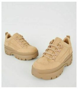 Camel Suedette Chunky Lace Up Trainers New Look Vegan