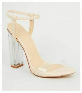 Cream Clear Block Heel Sandals New Look