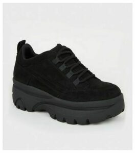Black Suedette Chunky Lace Up Trainers New Look Vegan