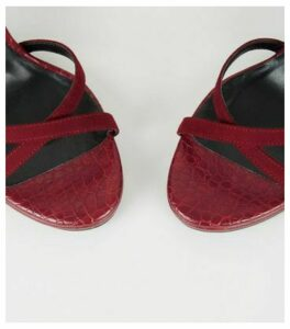 Dark Red Faux Croc 2 Part Platform Heels New Look Vegan
