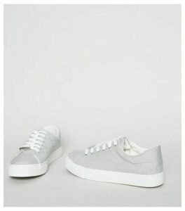 Silver Glitter Lace Up Trainers New Look Vegan