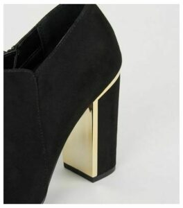 Wide Fit Black Metal Trim Shoe Boots New Look Vegan