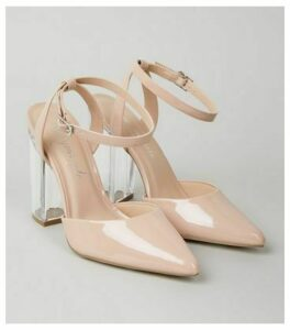 Pale Pink Patent Clear Block Heel Court Shoes New Look Vegan