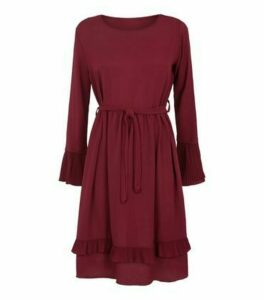 Mela Burgundy Pleated Tie Waist Dress New Look