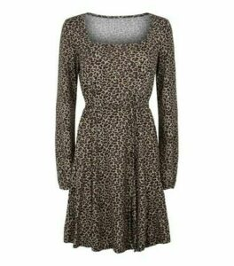 Blue Vanilla Off White Leopard Print Skater Dress New Look