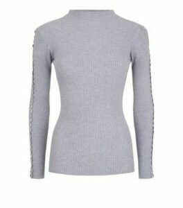 Cameo Rose Grey Diamanté Crochet Trim Jumper New Look
