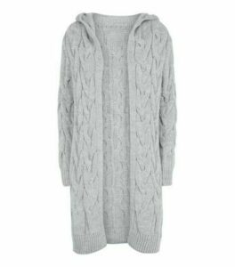Cameo Rose Grey Cable Knit Hooded Cardigan New Look