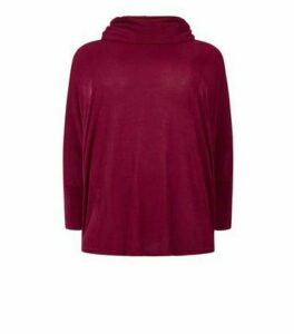 Blue Vanilla Curves Burgundy Batwing Jumper New Look