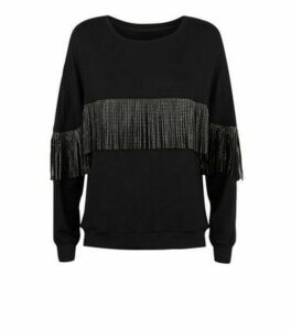 Cameo Rose Black Gem Tassel Trim Sweatshirt New Look