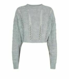 Cameo Rose Grey Cable Knit Crop Jumper New Look
