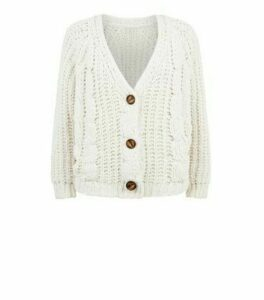 Cameo Rose Cream Chunky Cable Knit Cardigan New Look