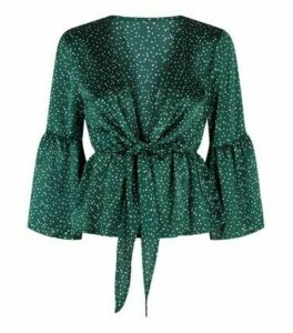 Urban Bliss Green Spot Satin Peplum Blouse New Look