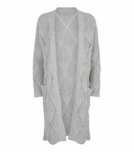 Cameo Rose Grey Diamond Cable Knit Cardigan New Look