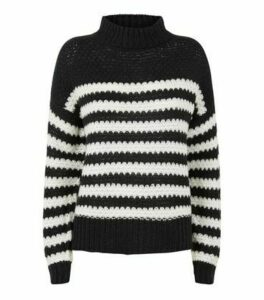 Urban Bliss Black Stripe Waffle Knit Jumper New Look