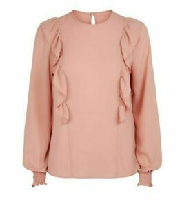 Mid Pink Frill Trim Long Sleeve Blouse New Look