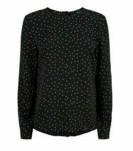 Black Spot Print Button Back Blouse New Look