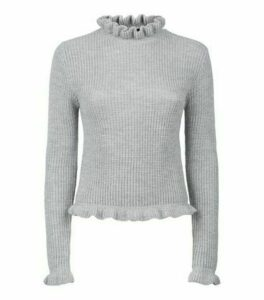 Pale Grey Ruffle Neck Jumper New Look