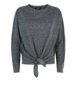 Dark Grey Long Sleeve Tie Front Top New Look